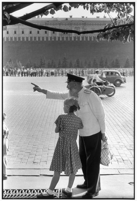 SOVIET UNION. Moscow. Red Square, facing the Kremlin's brick wall. 1954. Old railway worker.