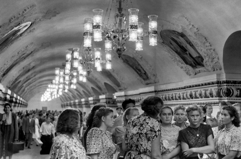 SOVIET UNION. Moscow. 1954. Workers of a state-farm visiting the Metro.