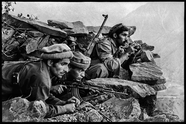 Mujahideen Fighters Watch Convoy, Nuristan, Afghanistan, 1979