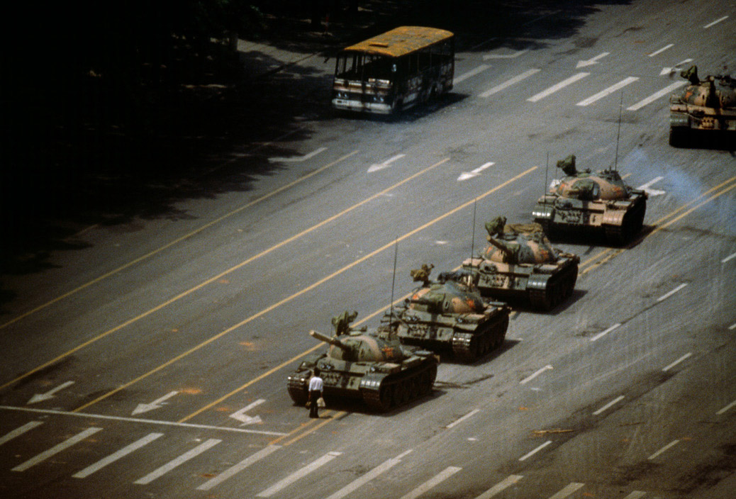 CHINA. Beijing. Tien An Men Square. 'The Tank Man' stopping the column of T59 tanks. 4th June 1989