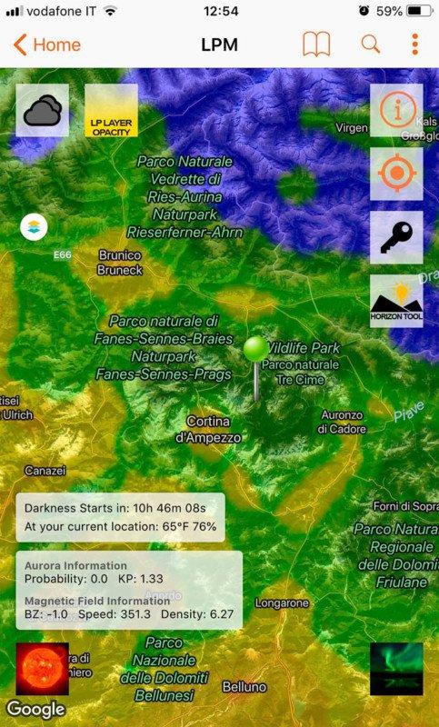 Приложение Light Pollution Map