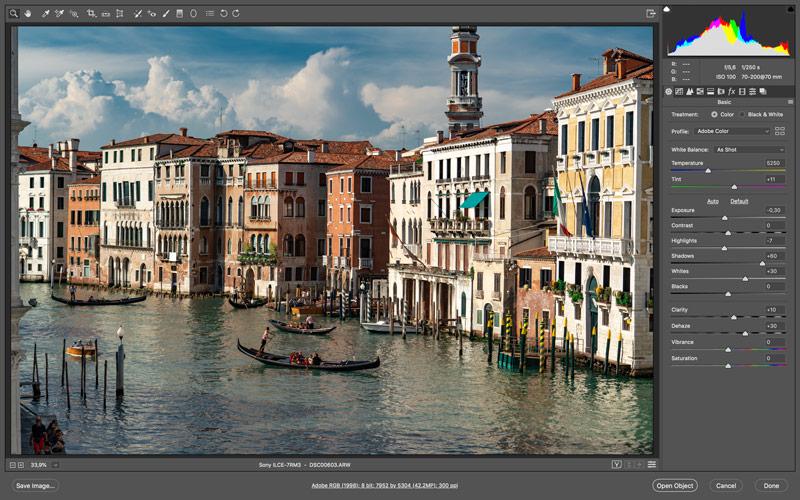 Внешний вид Adobe Camera RAW