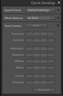 Вкладка Quick Develop в Lightoom