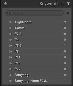 Списки ключевых слов в библиотеке Lightroom