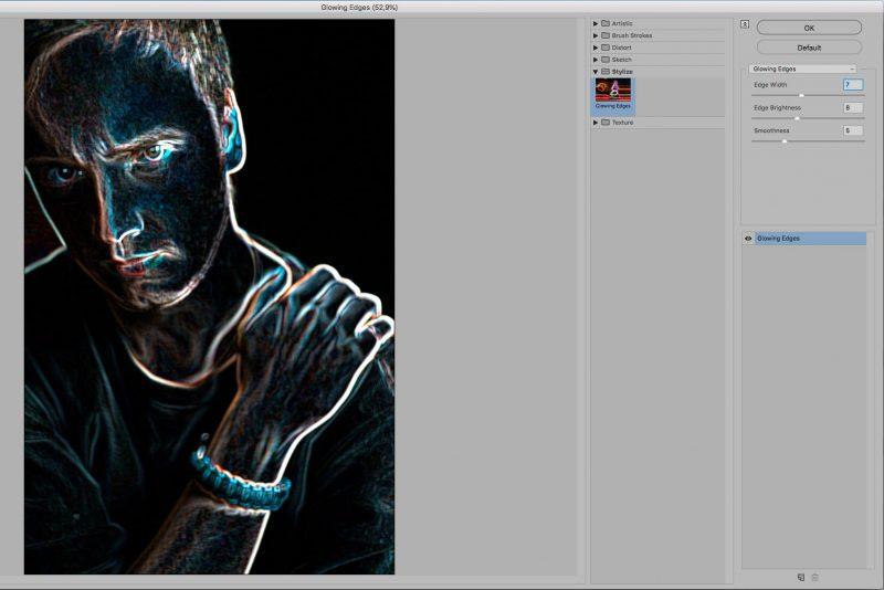 Окно Filter Gallery с открытой вкладкой Stylize и фильтром Glowing Edges 2
