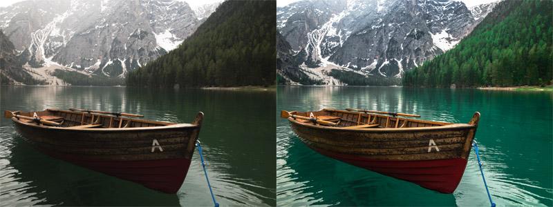 RAW до и после обработки