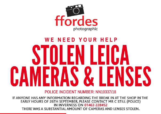 Шотландский фотомагазин ограбили на $200'000, брали только Leica